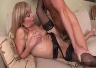 Stockings-clad blonde MILF drilled sideways