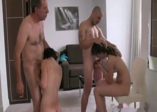 Son and his dad take turns on mom and sister