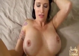 Busty brunette MILF rides son's cock in POV
