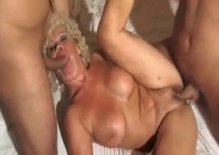 Curly mom takes her son's and husband's cocks
