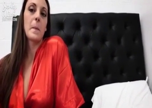 Mommy in red sucking son's cock in POV