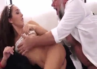 Curly brunette fucked by her bearded father