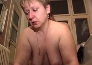 Chubby MILF gets drilled by her son on the floor