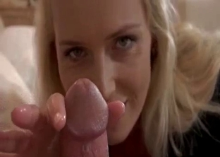 Busty blonde mom strokes son's cock in POV